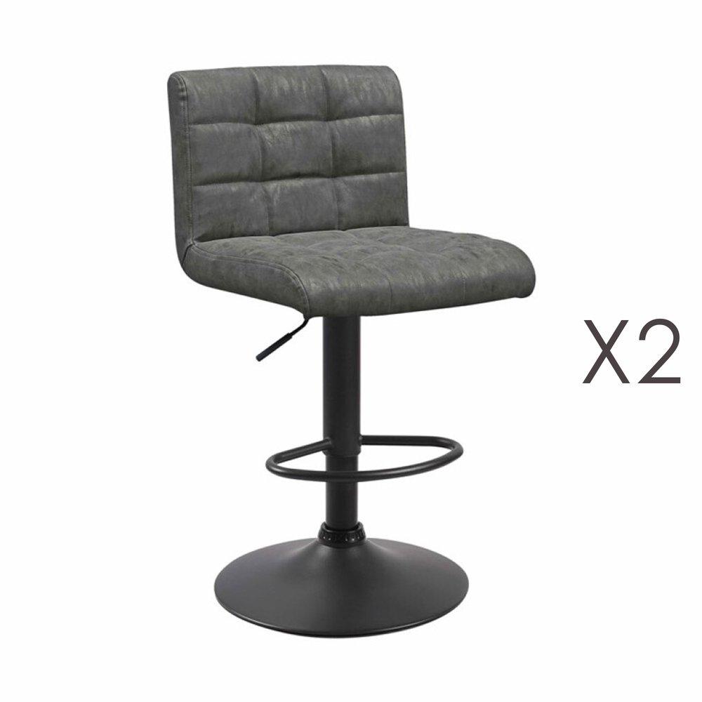 Tabouret de bar - Lot de 2 chaises de bar 50x45,5x88 cm en PU gris - GABIN photo 1