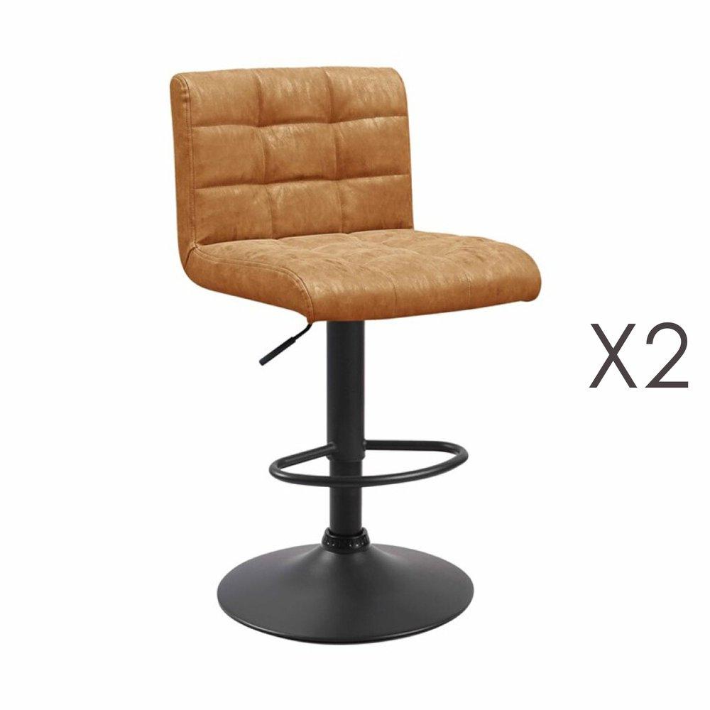 Tabouret de bar - Lot de 2 chaises de bar 50x45,5x88 cm en PU camel - GABIN photo 1