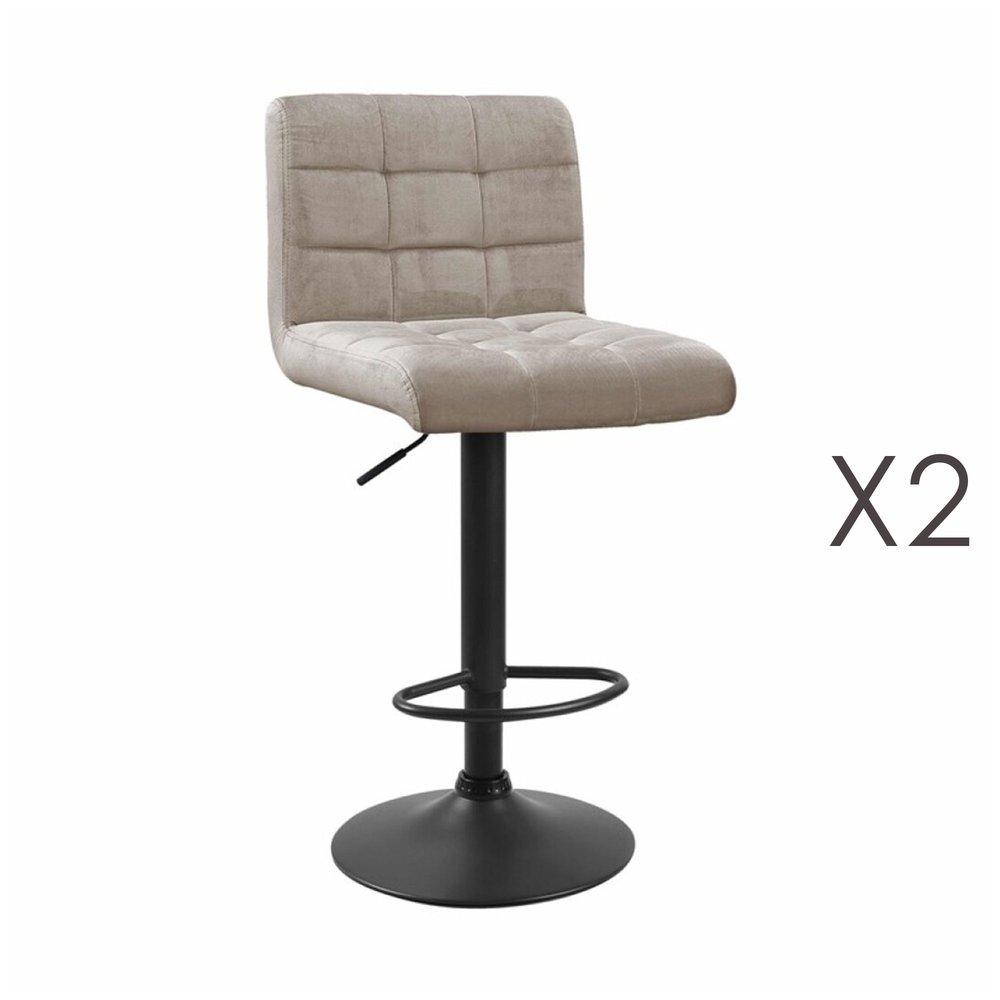 Tabouret de bar - Lot de 2 chaises de bar 50x45,5x88 cm en velours beige - GABIN photo 1