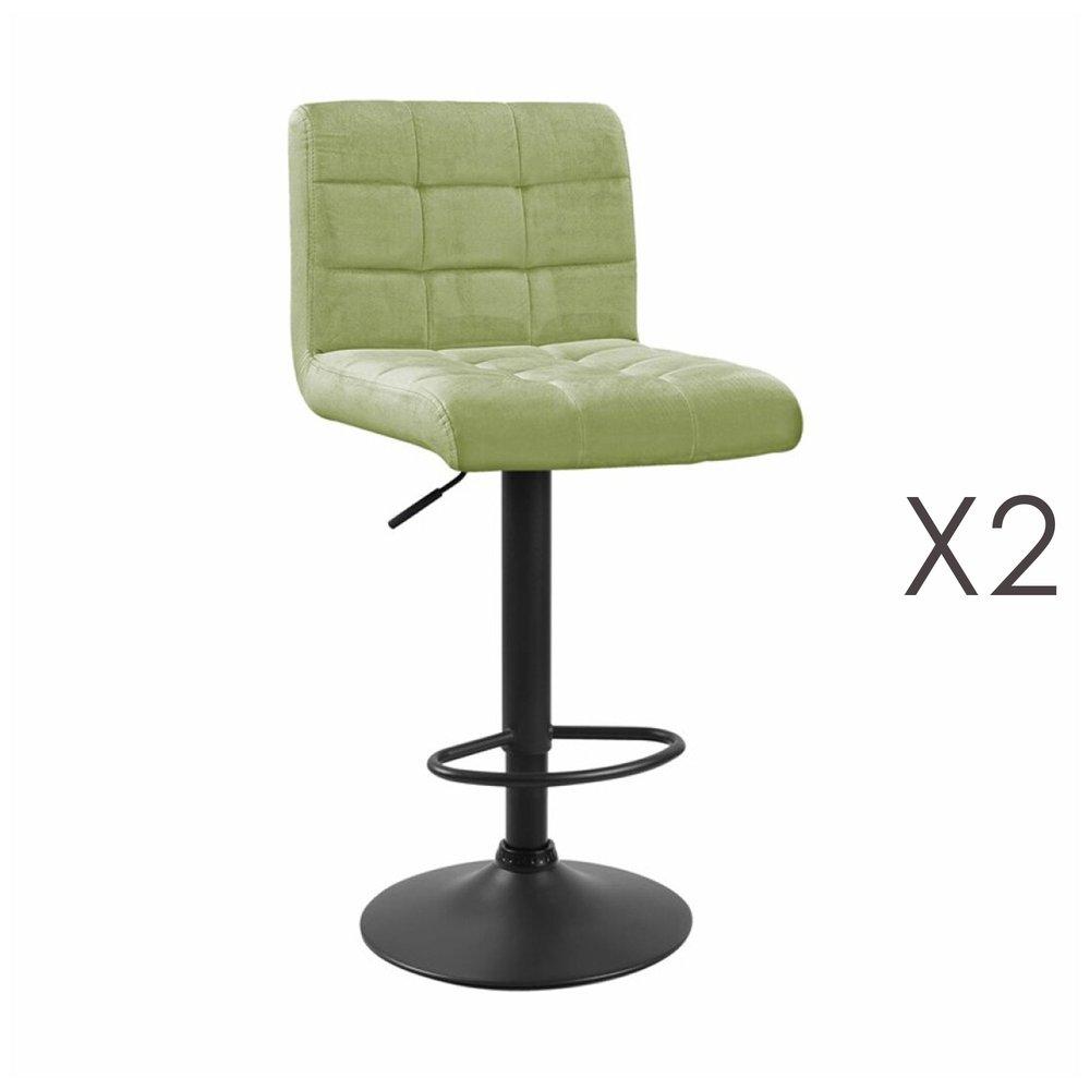 Tabouret de bar - Lot de 2 chaises de bar 50x45,5x88 cm en velours vert clair - GABIN photo 1