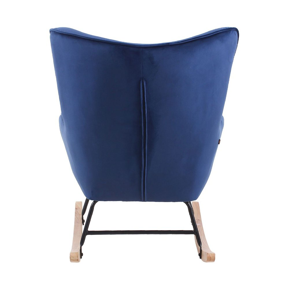 Fauteuil à bascule 68x92x100 cm en tissu velours bleu foncé JOFFRY