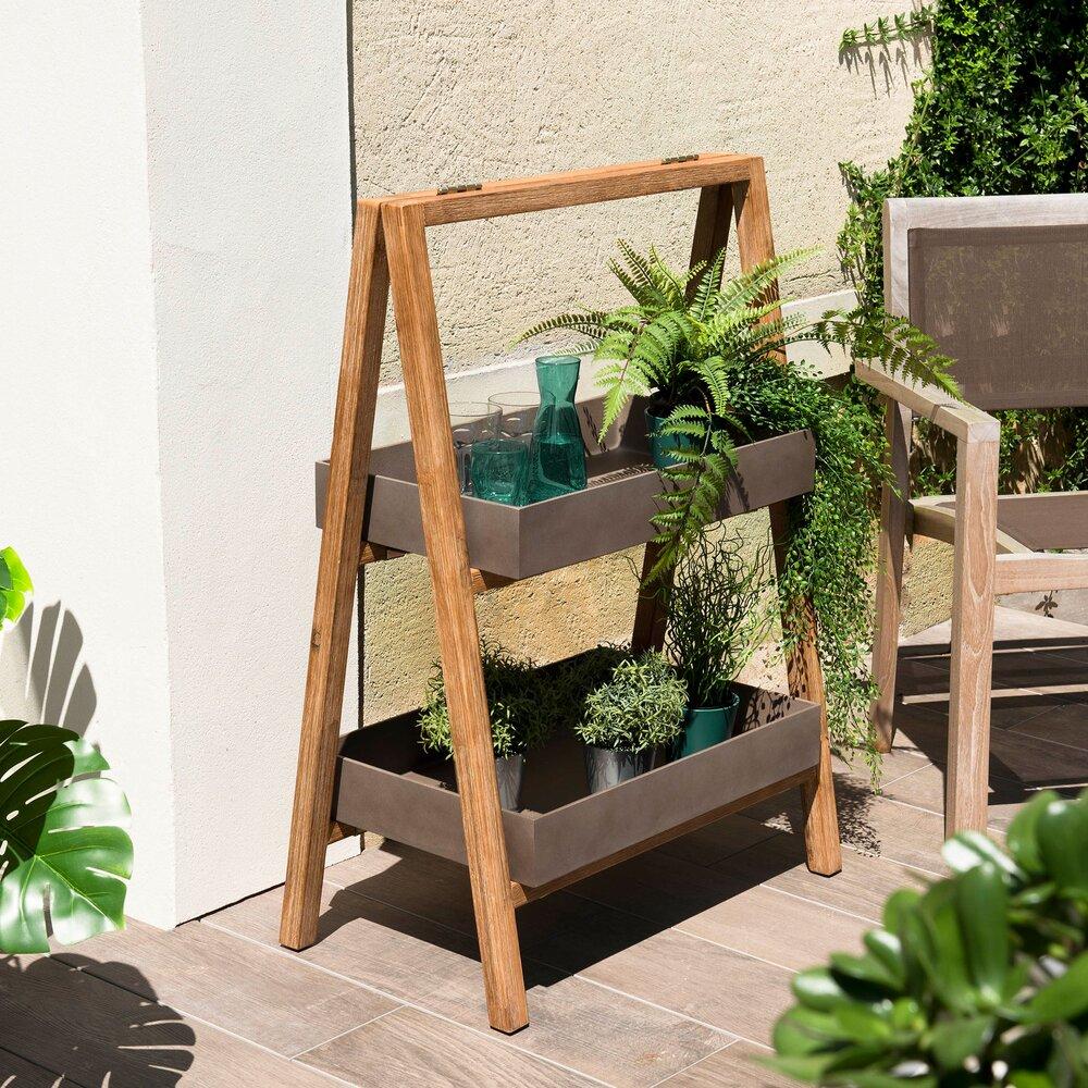 Meuble de jardin - Etagère 2 niveaux 70 cm en béton et acacia - BETTY photo 1