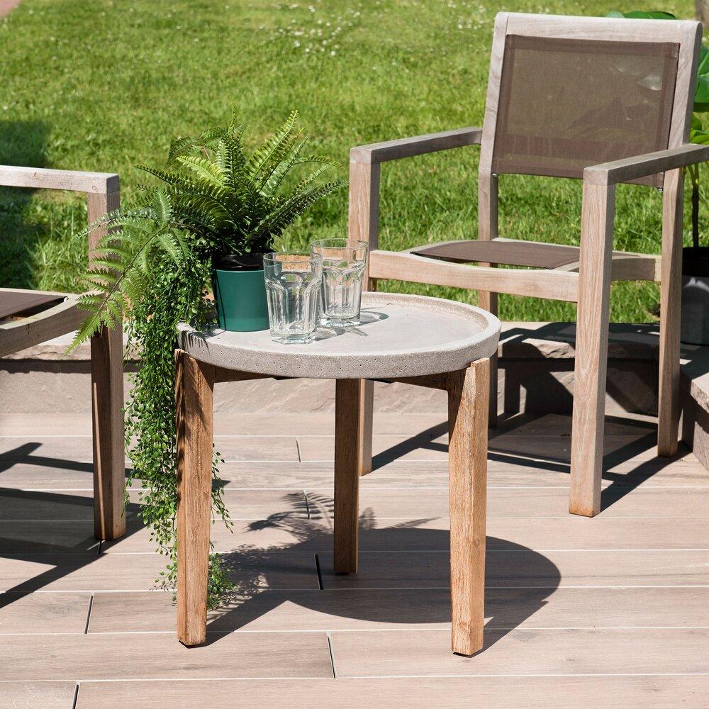 Meuble de jardin - Table d'appoint ronde béton 50x50cm pieds Acacia naturel photo 1