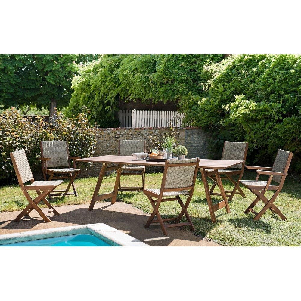Meuble de jardin - Ensemble table 220 cm avec 4 chaises et 2 fauteuils - TUINY photo 1