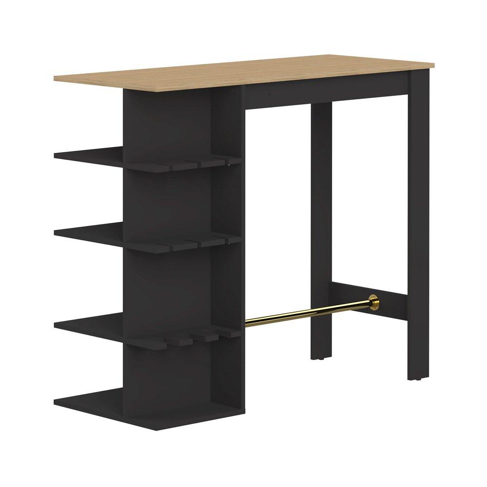 Table de bar avec rangements 145 cm noir et plateau chêne | Maison et Styles