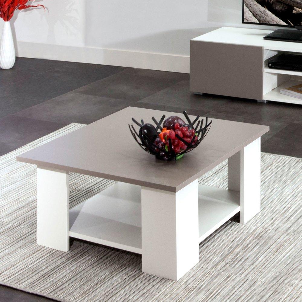 Table basse - Table basse 67x67x31 cm blanc et plateau béton - MODERN photo 1