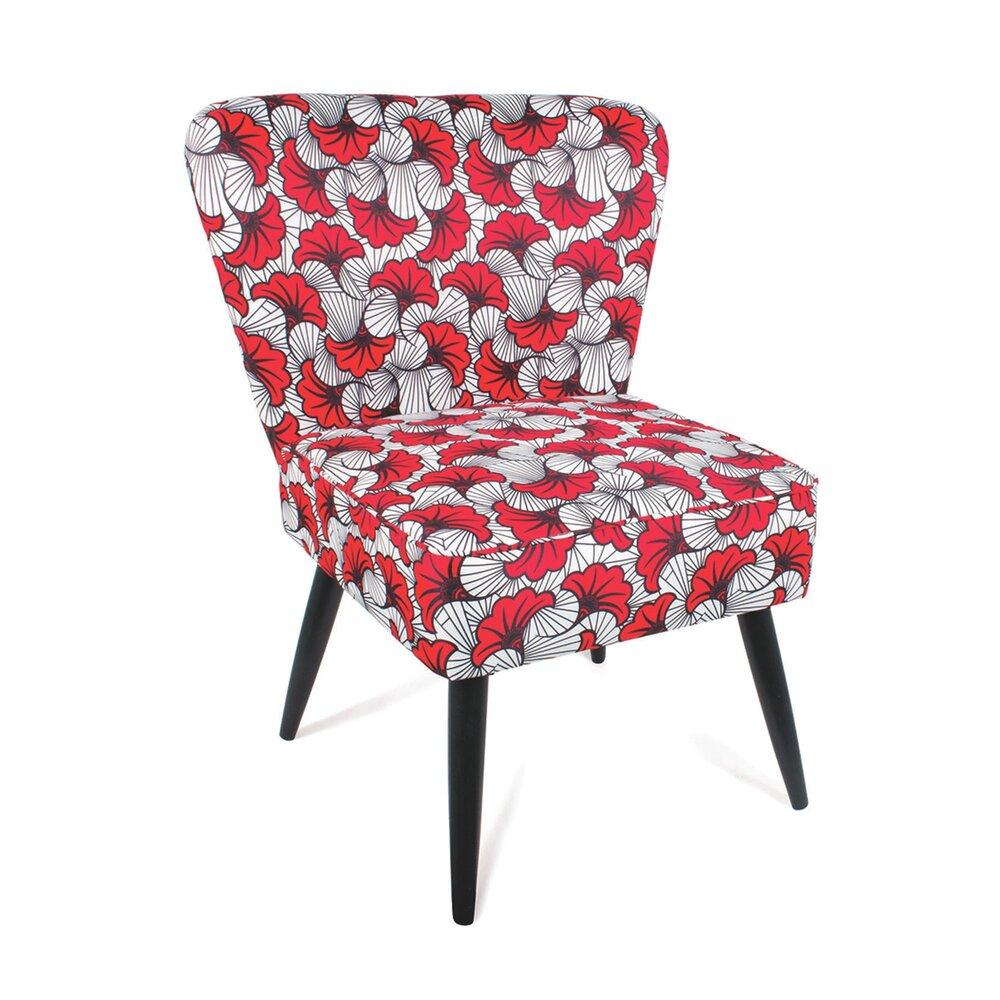 Fauteuil - Fauteuil bas 83x62x67 cm en tissu rouge et blanc photo 1