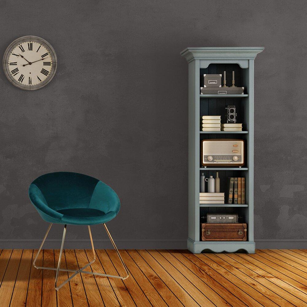 Fauteuil - Fauteuil 58,5x65x74 cm en tissu velours bleu et pieds métal - SOLIS photo 1