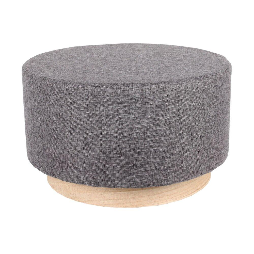 Pouf - Pouf 60x60x35 cm en tissu gris - TIAGO photo 1