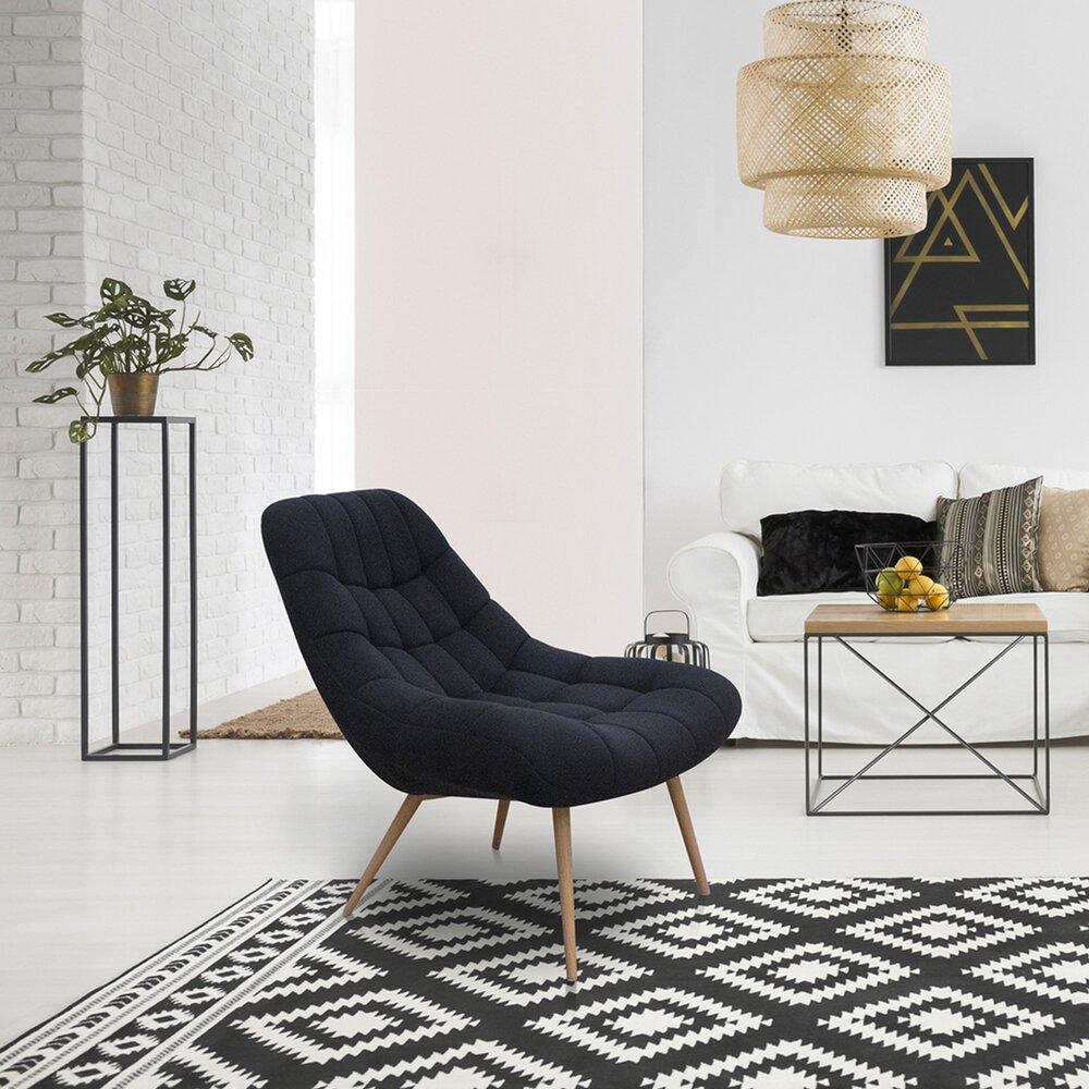 Fauteuil - Fauteuil lounge 76x87x85,5 cm en tissu noir - YEIMY photo 1