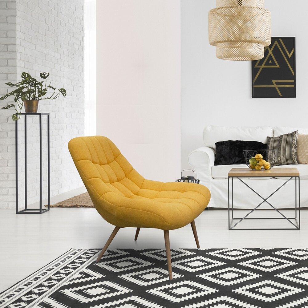 Fauteuil - Fauteuil lounge 76x87x85,5 cm en tissu jaune - YEIMY photo 1