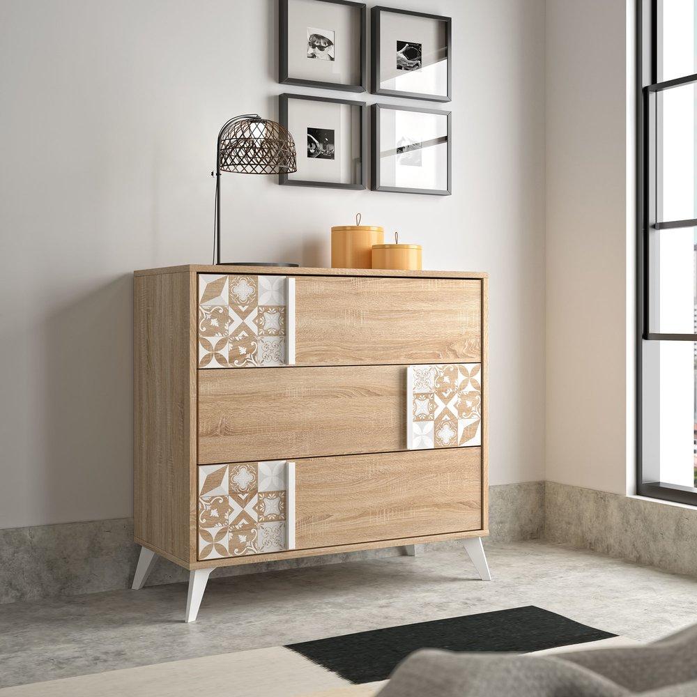 Commode - Coiffeuse - Commode 3 tiroirs décor chêne et carreaux de ciment - CALVI photo 1