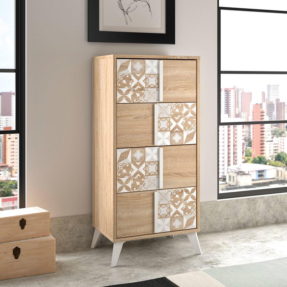 Chiffonnier - Chiffonnier 4 tiroirs décor chêne et carreaux de ciment - CALVI photo 1