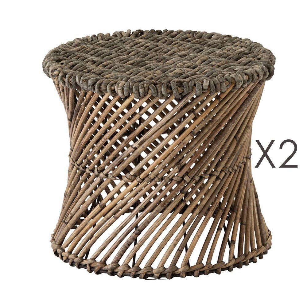 Tabouret - Lot de 2 tabourets ronds 31 cm en rotin marron photo 1