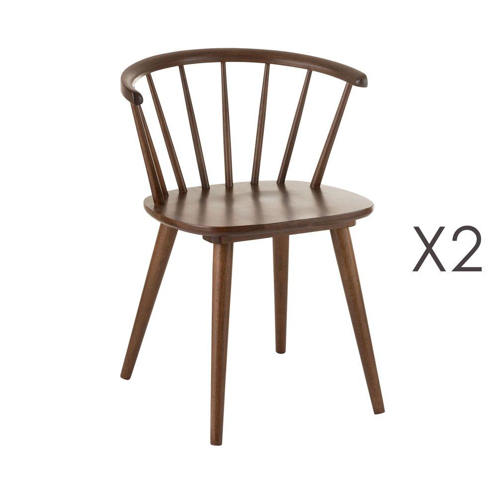 Chaise - Lot de 2 chaises bistrot 55x53x75 cm en bois marron photo 1