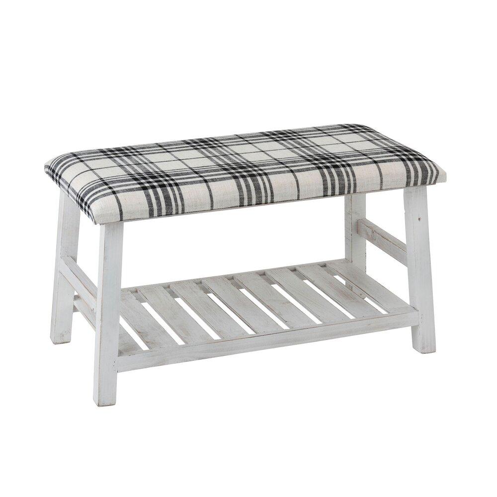 Banquette - Banc 80 cm avec assise en tissu et pieds en bois blanc et noir photo 1