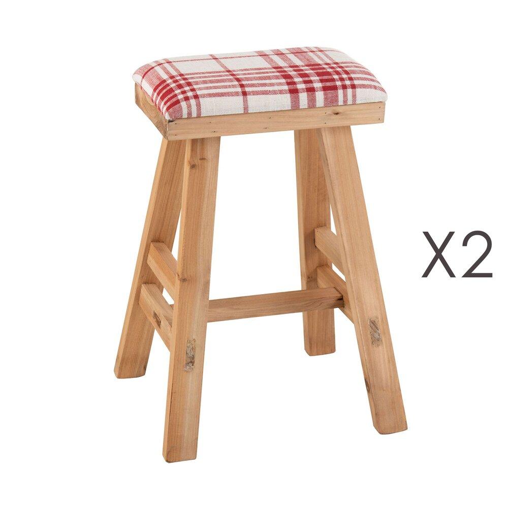 Tabouret - Lot de 2 tabourets assise en tissu et pieds en bois blanc et rouge photo 1