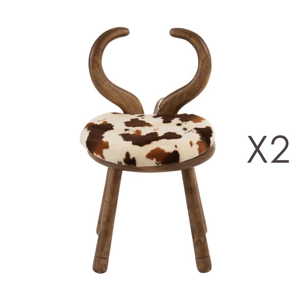 Chaise - Lot de 2 chaises vache en bois blanc et marron photo 1