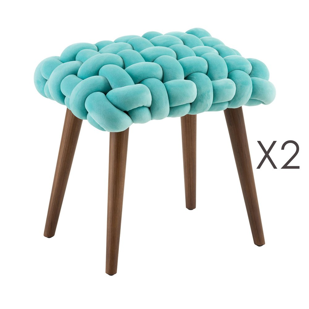 Tabouret - Lot de 2 tabourets 44x34x43 cm en velours tissé bleu - BRAIDY photo 1