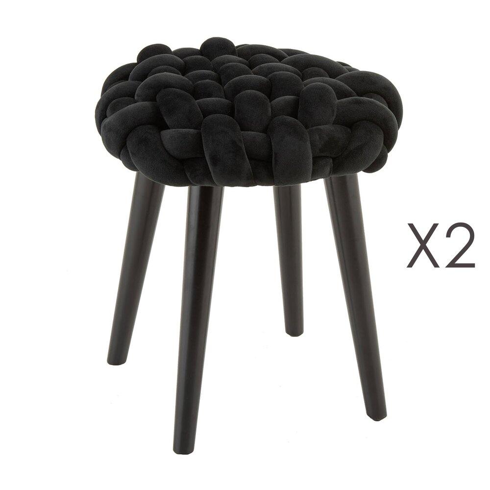 Tabouret - Lot de 2 tabourets ronds 40 cm en velours tissé noir - BRAIDY photo 1