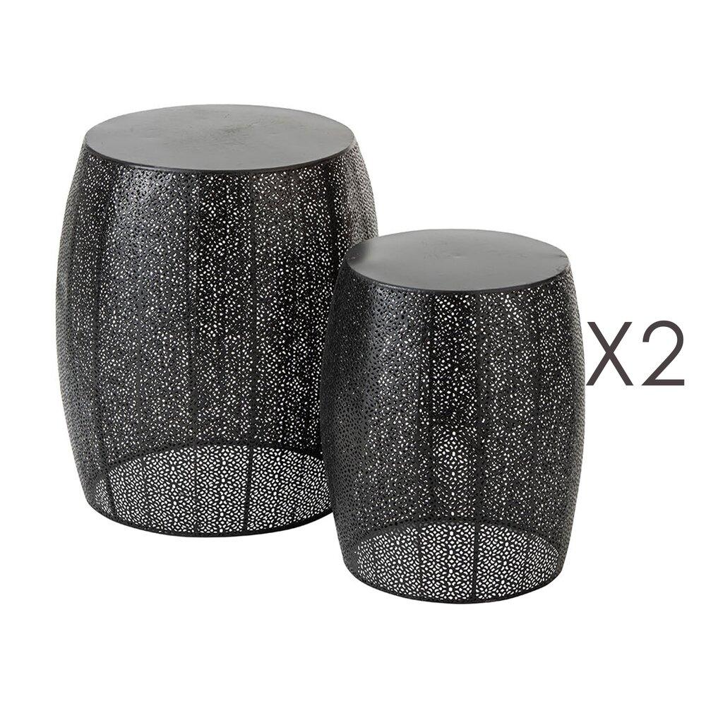 Tabouret - Lot de 2 tabourets 38,5 et 29,5 cm en métal noir mat photo 1