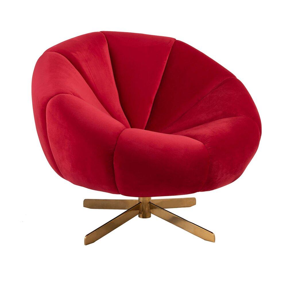 Fauteuil - Fauteuil club 85x85x78 cm en velours rouge et pieds métal or photo 1