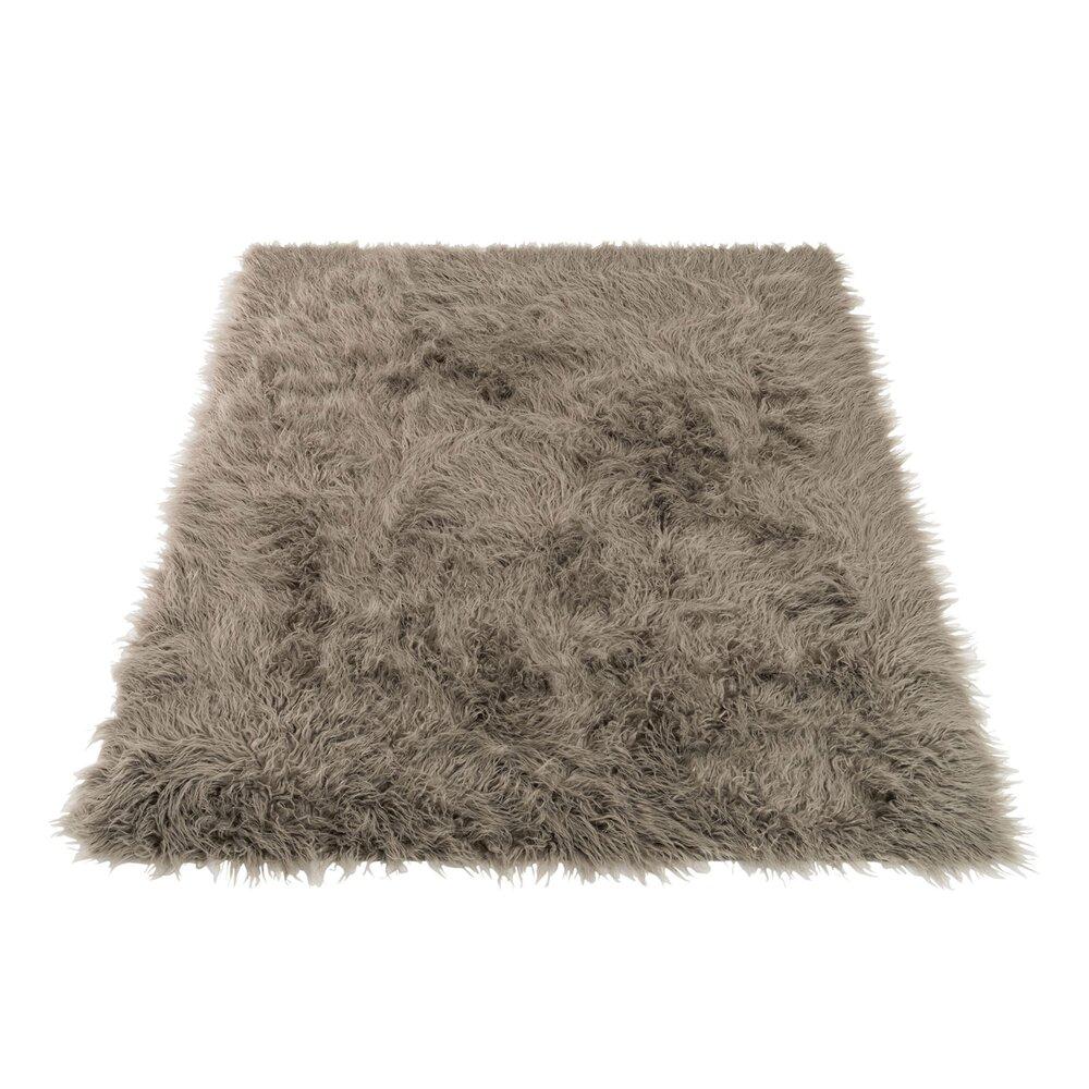 Tapis - Tapis à poils longs 180x150 cm en tissu acrylique gris photo 1