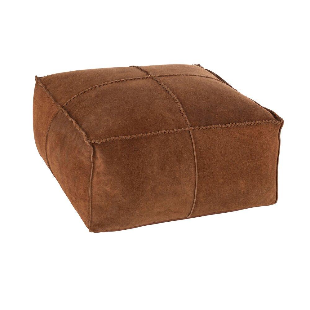 Pouf - Pouf carré 80x40 cm en cuir cognac photo 1