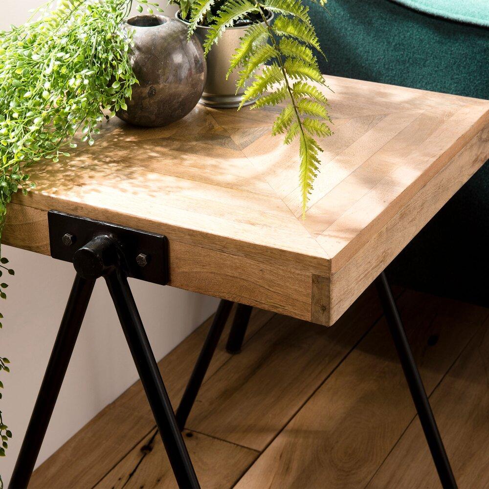 Table basse - Table d'appoint carrée 43 cm en manguier et métal - PILEA photo 1