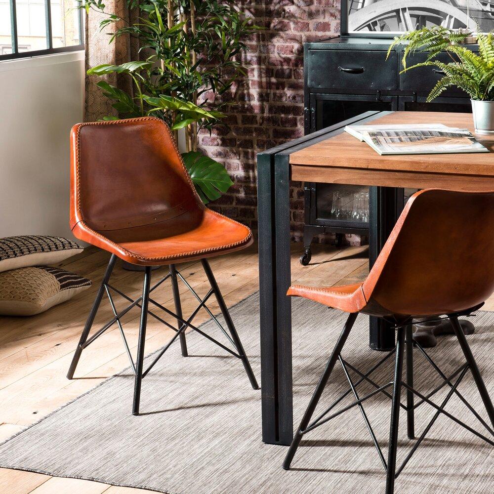 Chaise - Lot de 2 chaises 45x50x77 cm en cuir marron et métal - PILEA photo 1