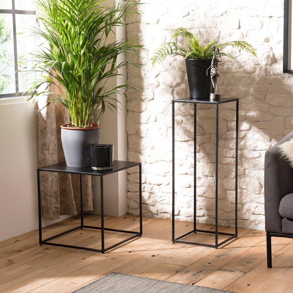 Sellette - Sellette haute carrée 30x87 cm en métal noir - PILEA photo 1