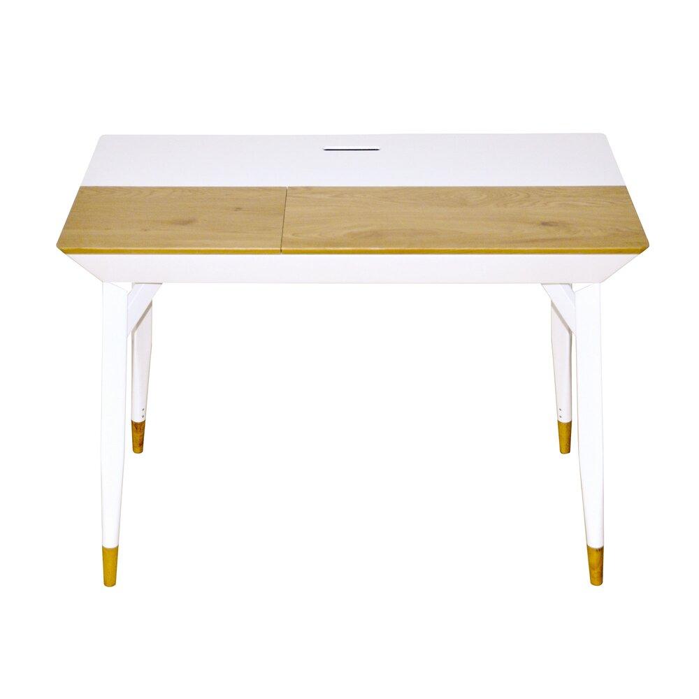 Bureau - Bureau avec rangements 105x55x76 cm blanc et chêne photo 1