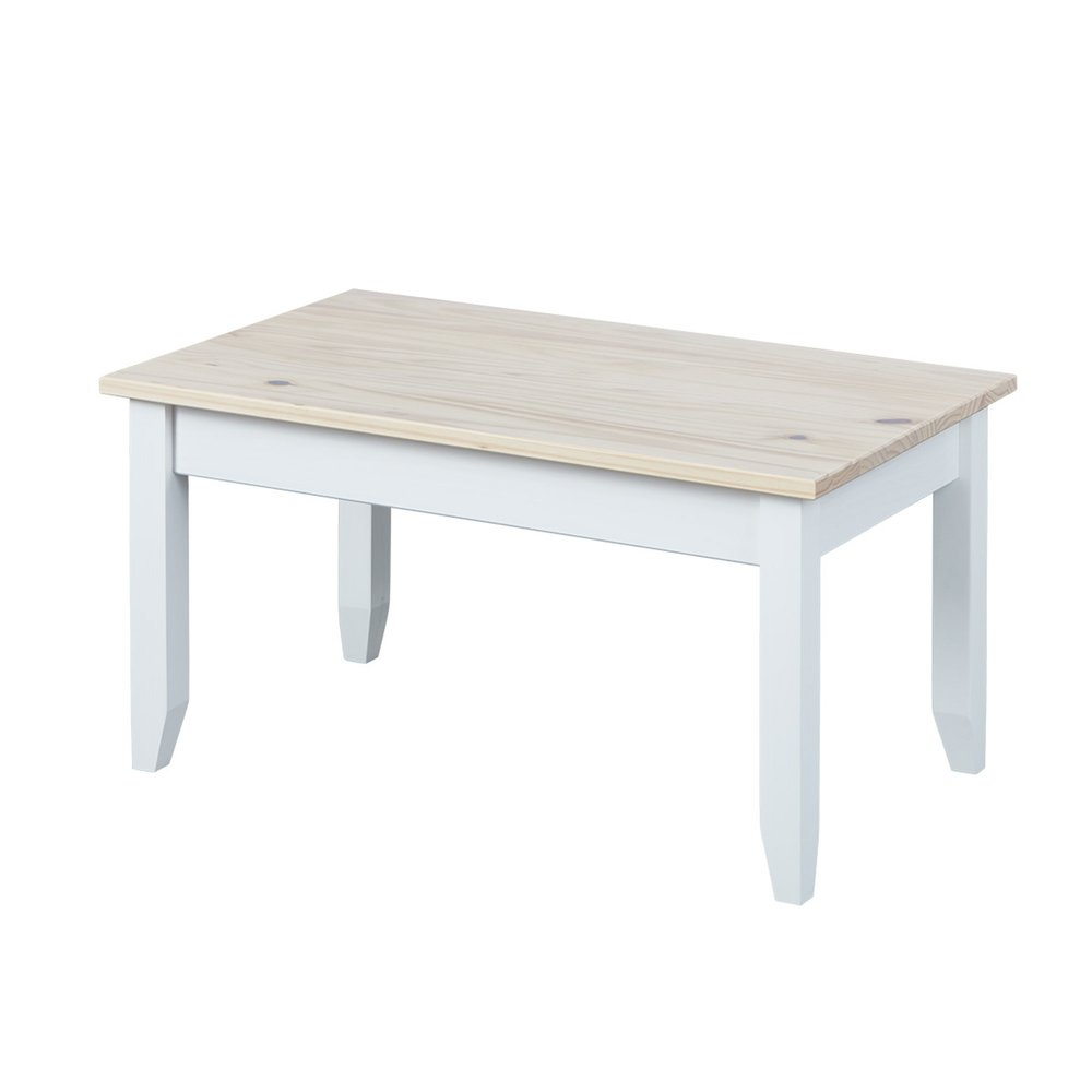 Table basse - Table basse 90x55x45 cm en pin massif naturel et blanc - DANN photo 1
