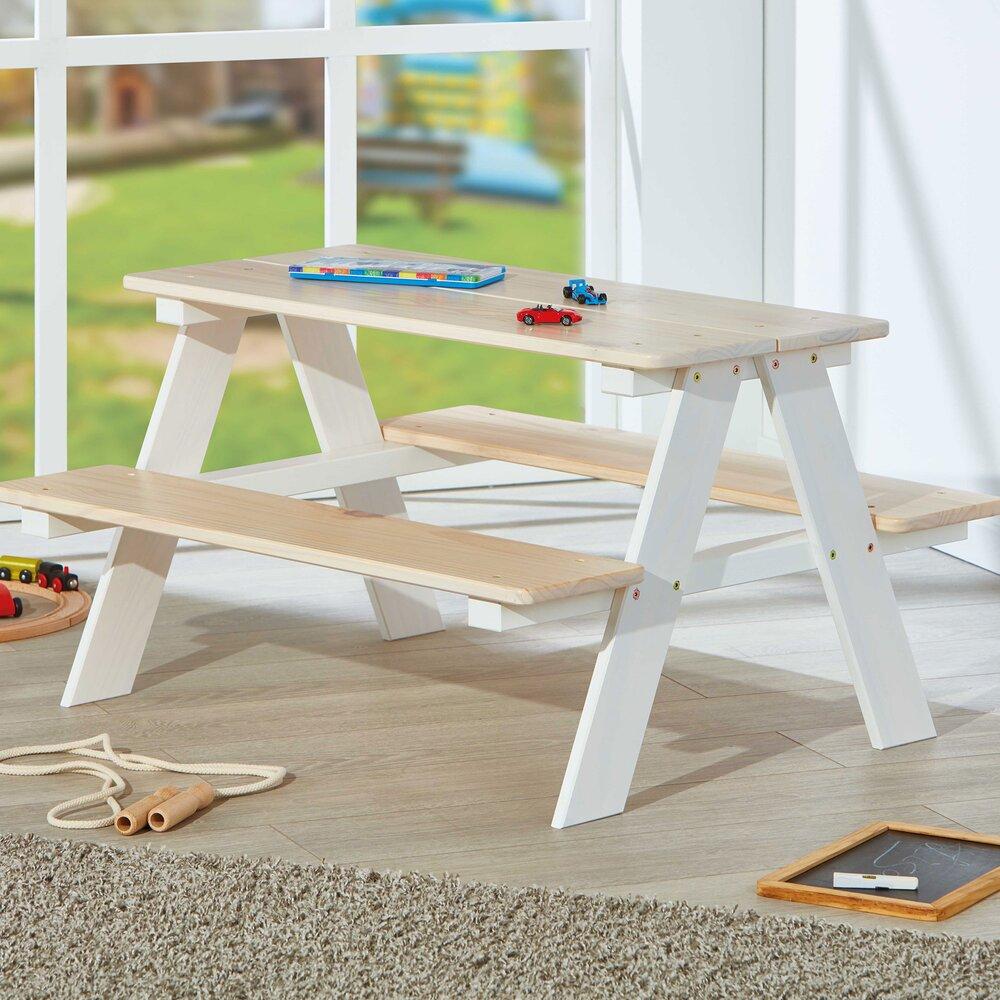 Meuble de jardin - Table de pique-nique pour enfants 90x82x50 cm en pin massif blanc et naturel photo 1
