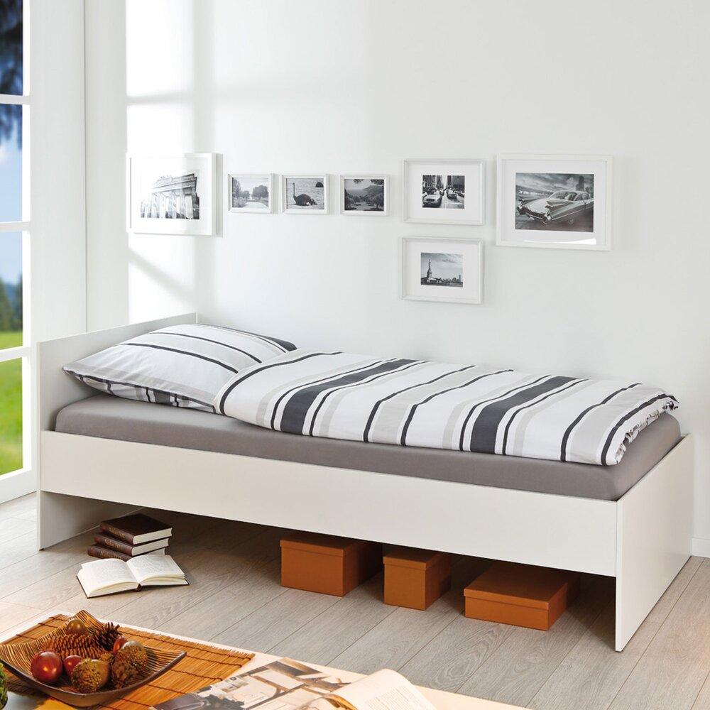 Lit enfant - Lit 90x200 cm en bois vernis blanc sans sommier photo 1