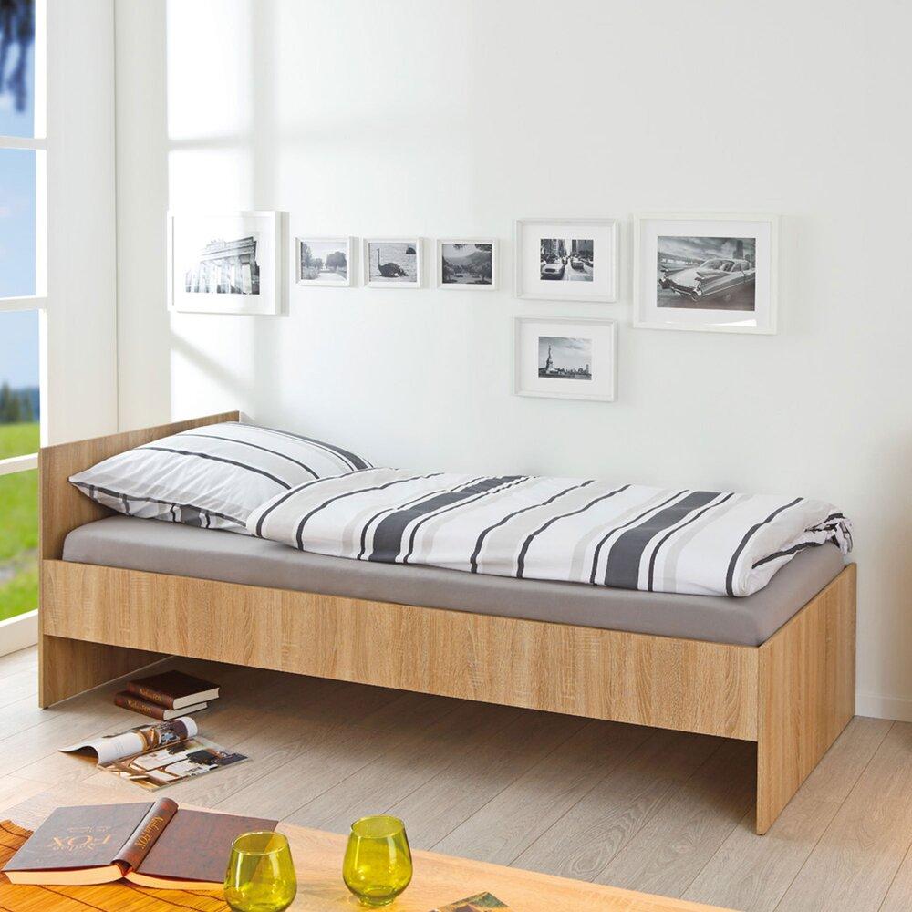 Lit enfant - Lit 90x200 cm en bois décor chêne sans sommier photo 1