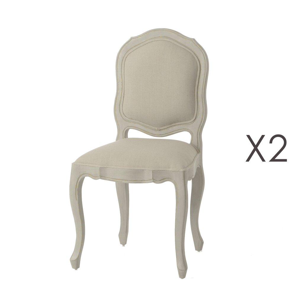 Chaise - Lot de 2 chaises en bois gris et tissu - VALENCE photo 1
