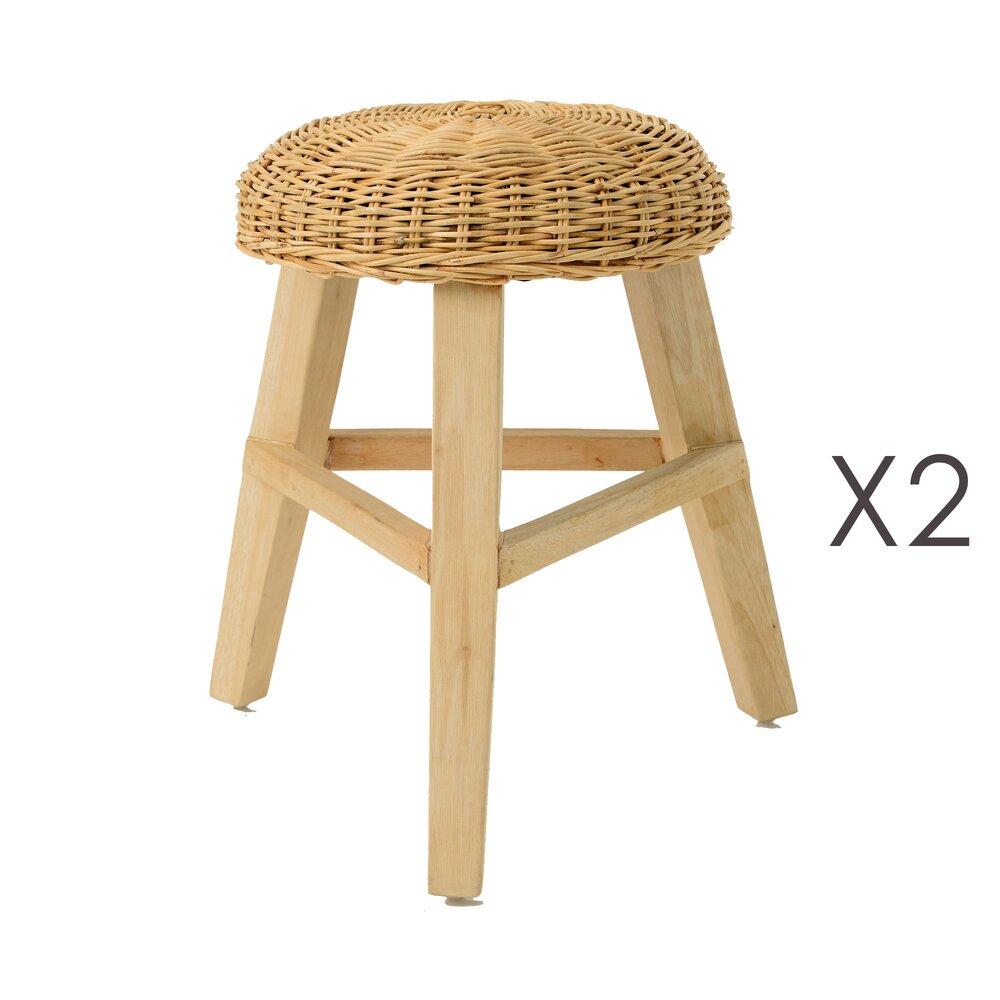 Tabouret - Lot de 2 tabourets en bois et assise en tissage - INDIES photo 1