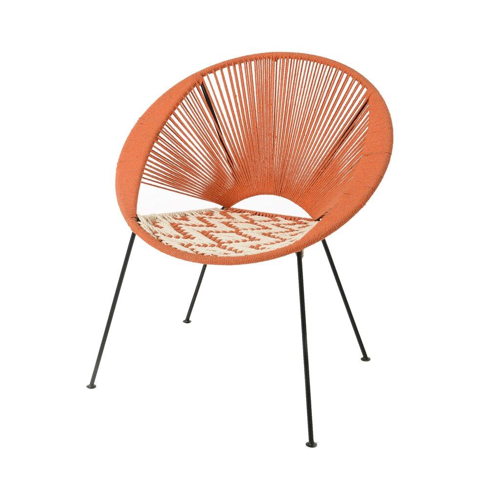 Meuble de jardin - Fauteuil 70x72x76 cm en corde orange et métal - VALDI photo 1