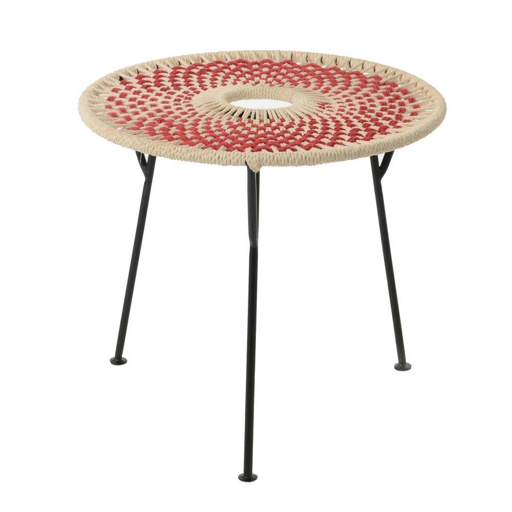 Table basse - Table basse ronde 50 cm en corde rouge et métal - VALDI photo 1