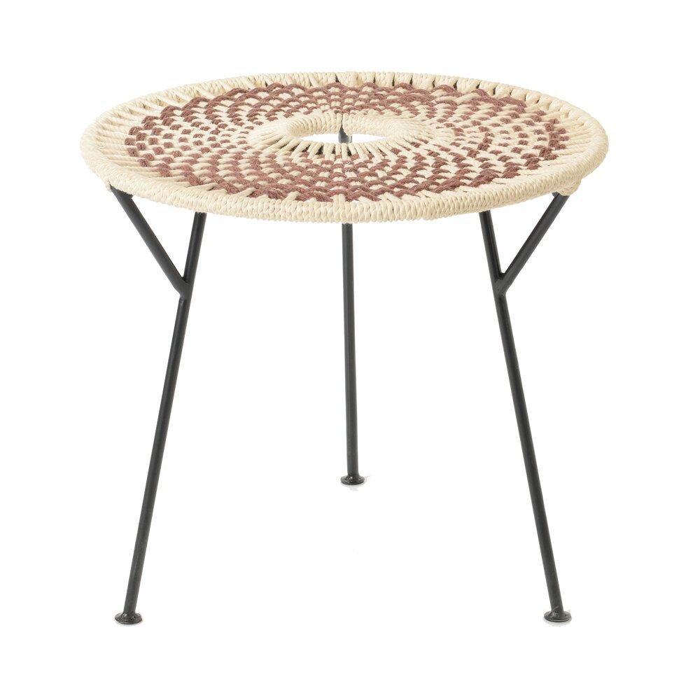 Table basse - Table basse ronde 50 cm en corde marron et métal - VALDI photo 1