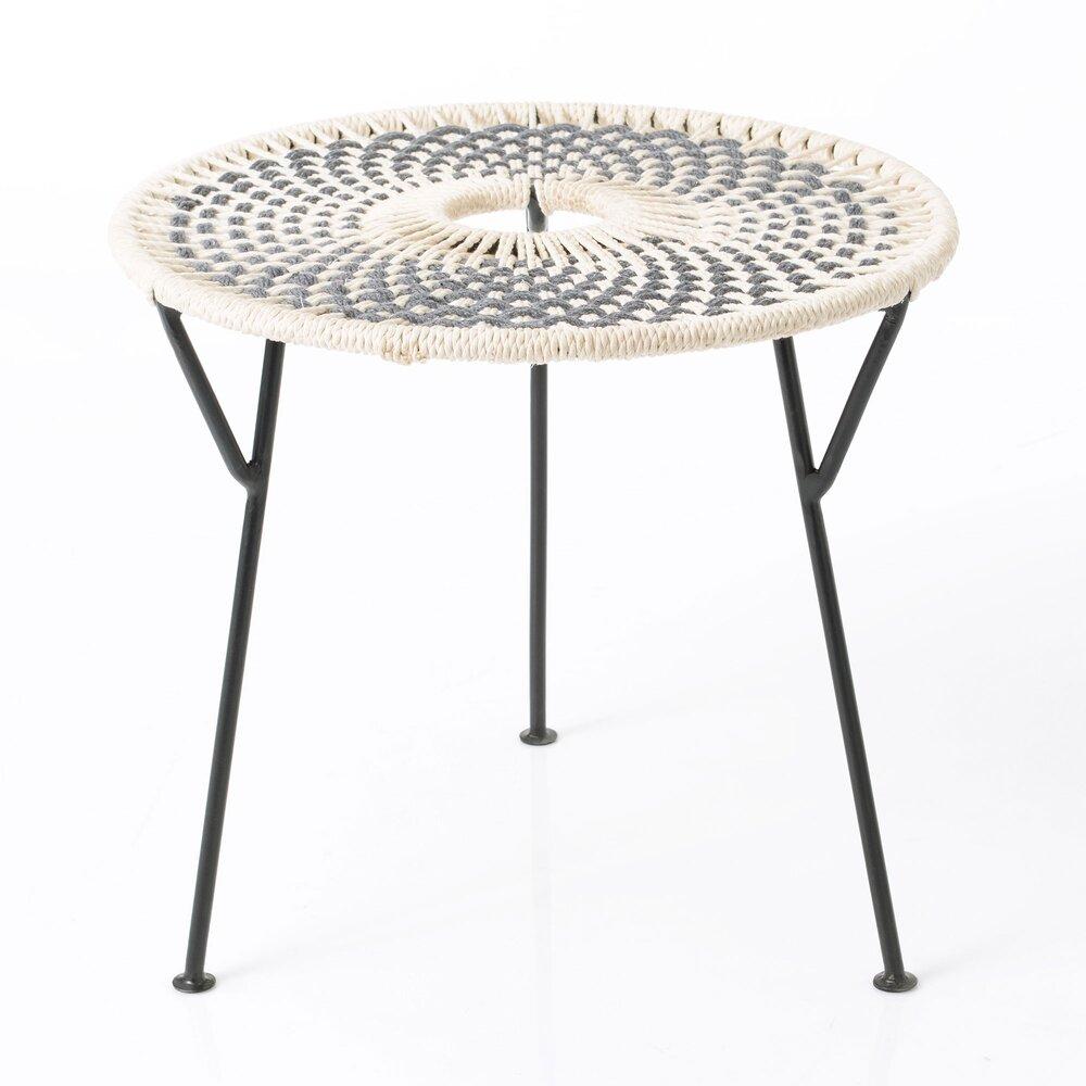 Table basse - Table basse ronde 50 cm en corde gris et métal - VALDI photo 1