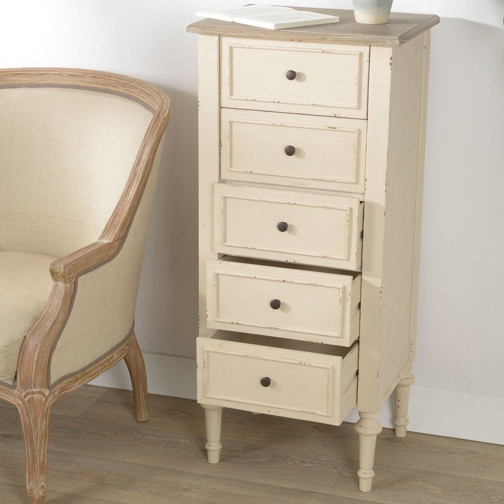 Chiffonnier - Chiffonnier 5 tiroirs en bois naturel et blanc - BERTILLE photo 1