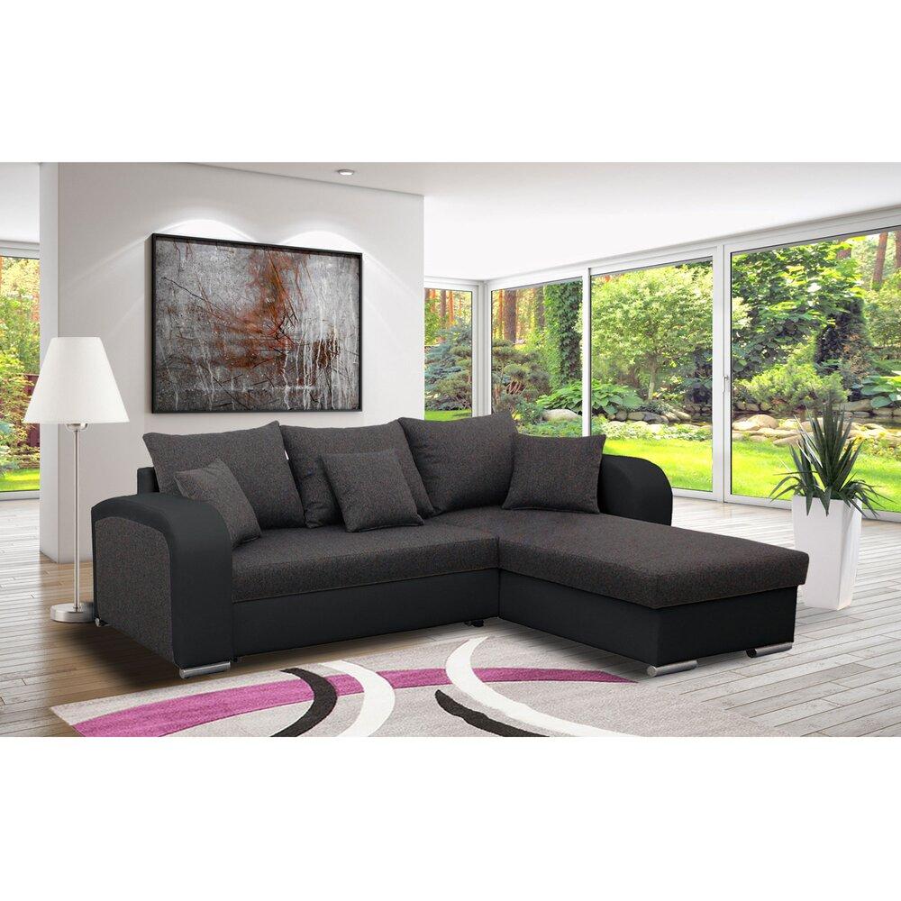 Canapé - Canapé angle à droite convertible en tissu gris foncé et PU noir - FULLSPACE photo 1
