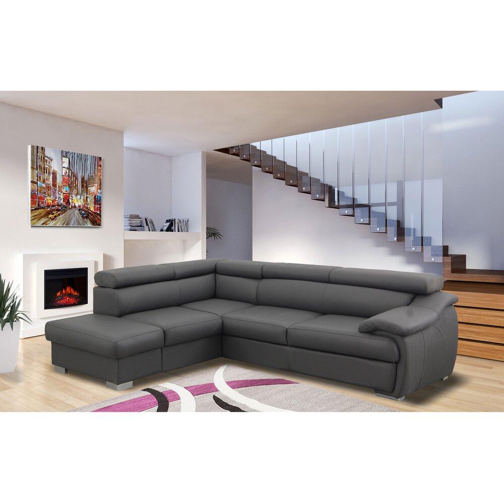 Canapé - Canapé d'angle fixe à gauche en PU anthracite - TAYCAM photo 1