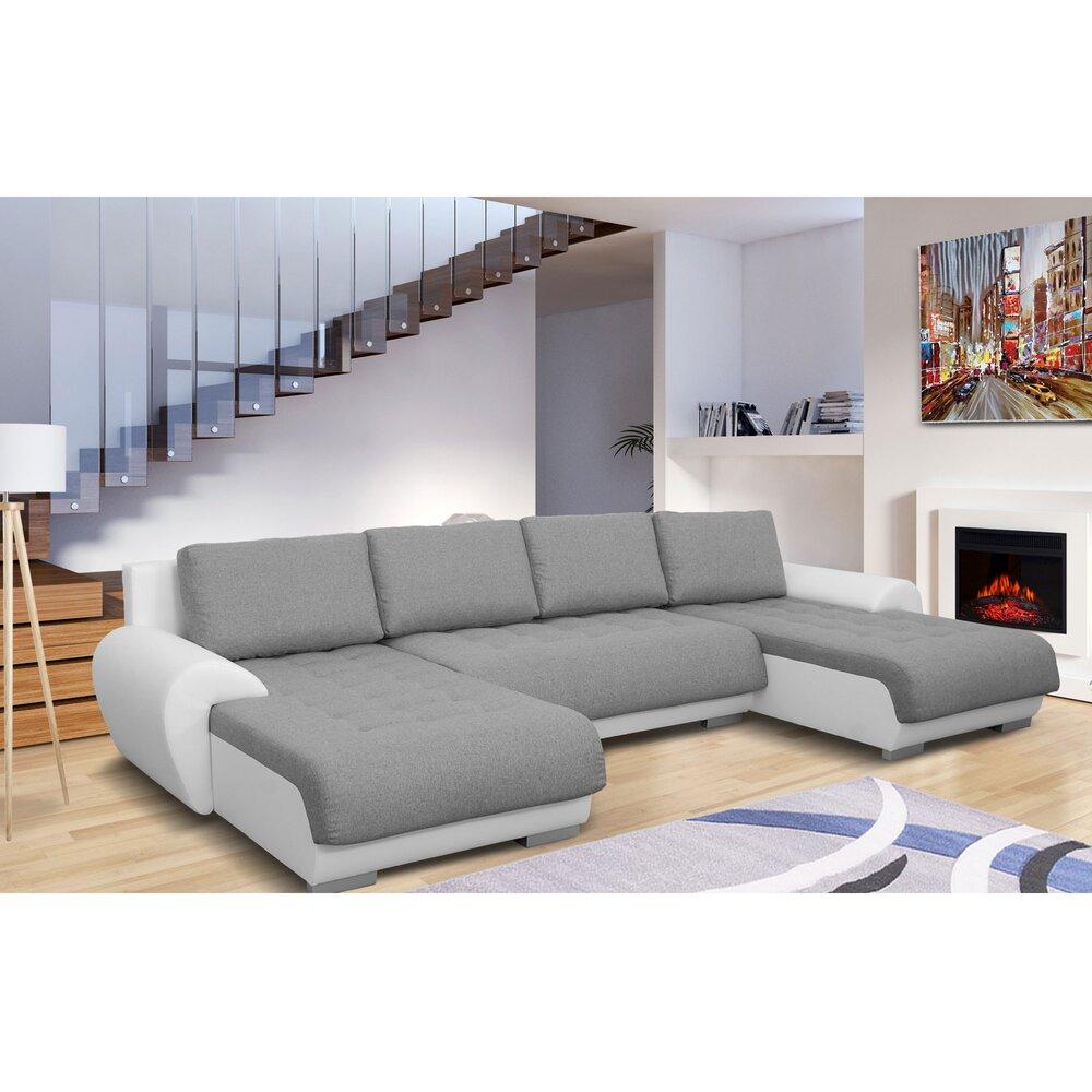 Canapé - Canapé d'angle convertible et réversible en tissu gris et PU blanc - FULLSIZE photo 1