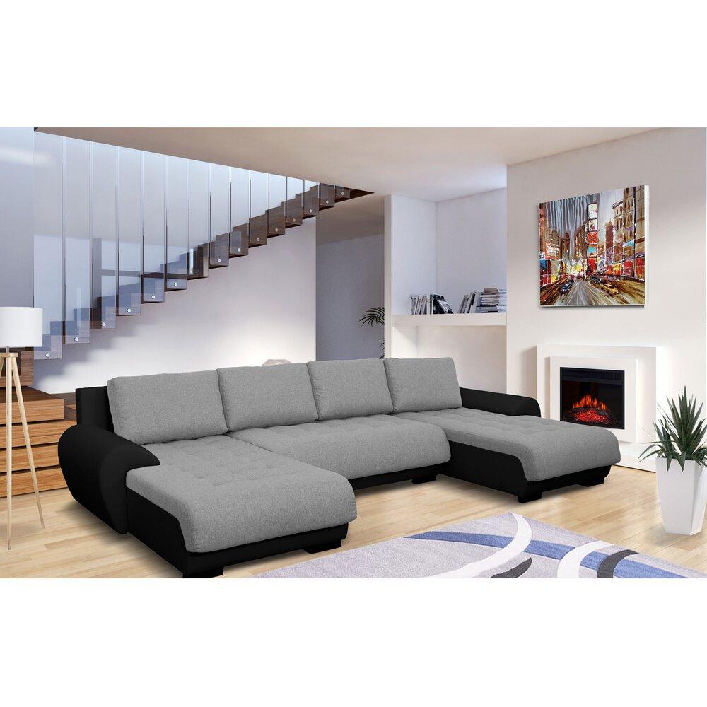 Canapé - Canapé d'angle convertible et réversible en tissu gris et PU noir - FULLSIZE photo 1