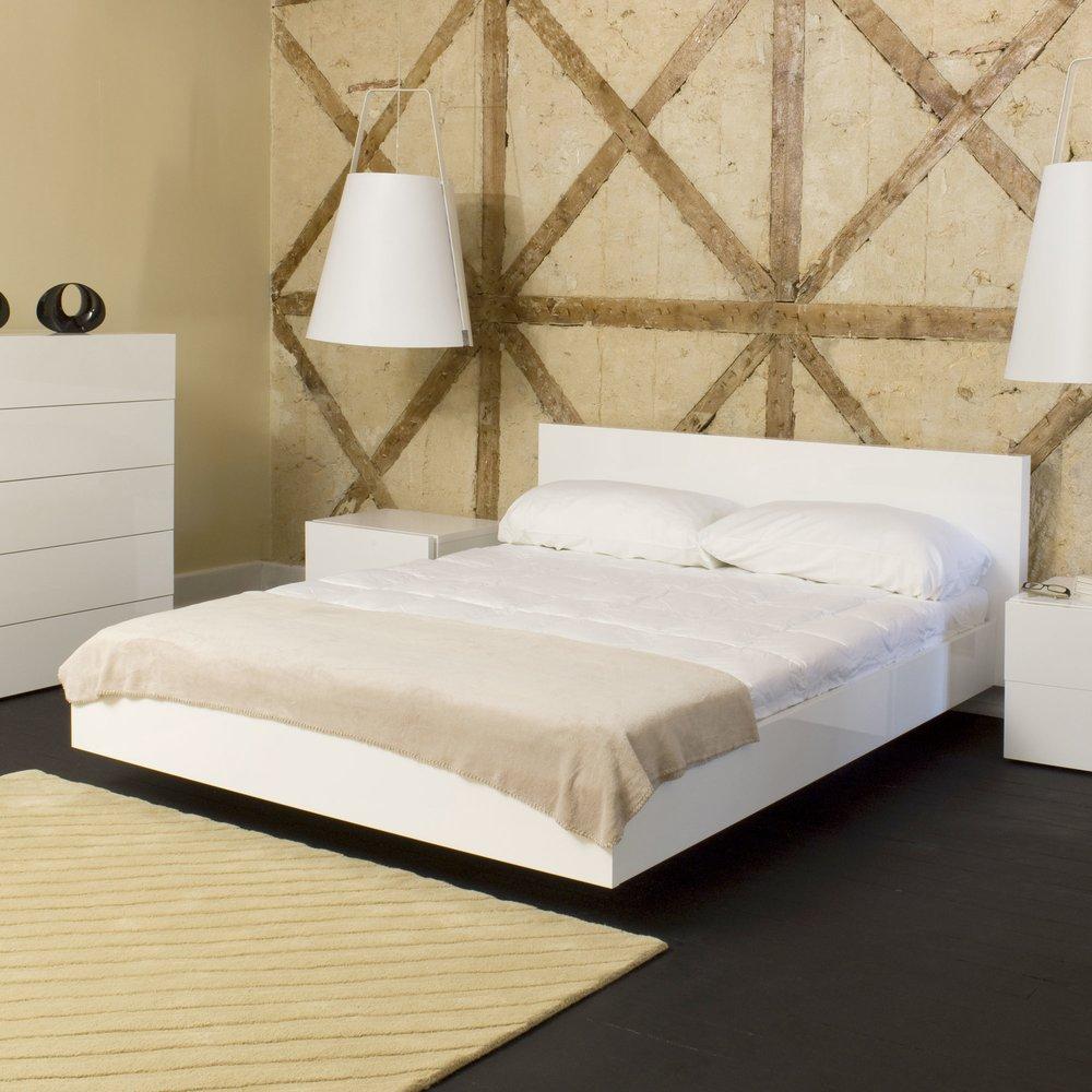 Lit - Lit 180x200 cm avec sommier décor blanc mat - WILDA photo 1