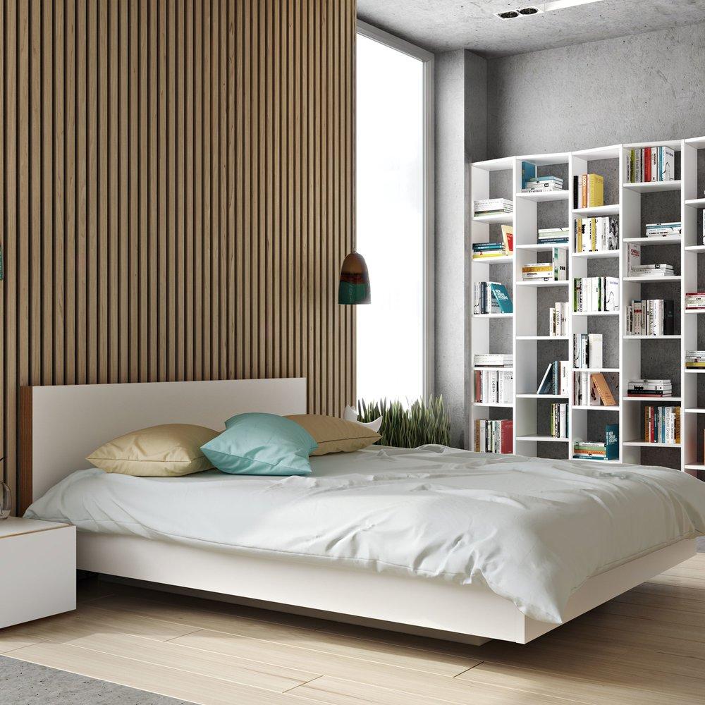 Lit - Lit 180x200 cm avec sommier décor blanc mat et chêne - WILDA photo 1