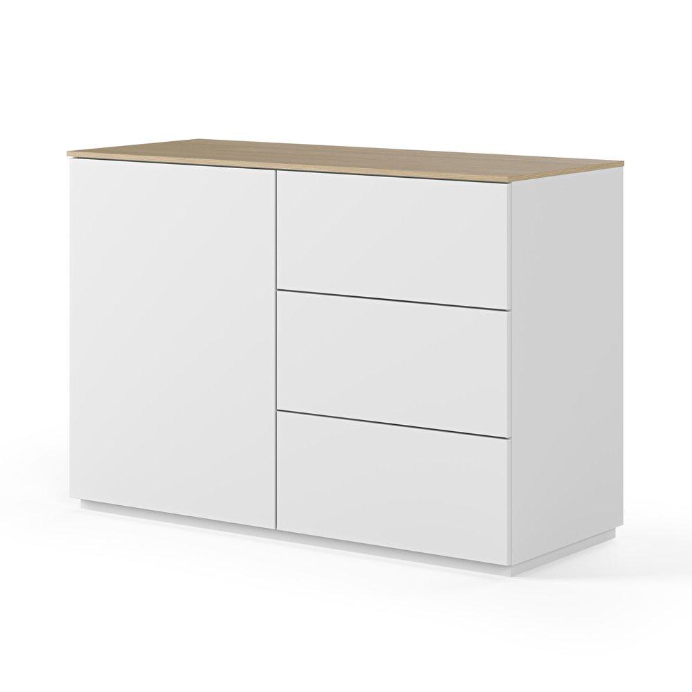 Buffet - vaisselier - Buffet 1 porte et 3 tiroirs blanc plateau chêne photo 1